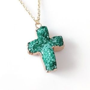 Gold-plated genuine agate druzy cross necklace